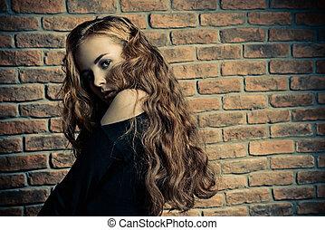 dziewczyna, z, kędzierzawy włos