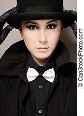 dziewczyna, z, kapelusz
