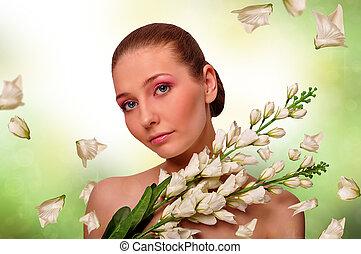 dziewczyna, z, kwiaty