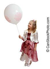 dziewczyna, z, niejaki, biały, balloon.