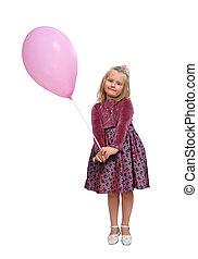 dziewczyna, z, niejaki, różowy, balloon.