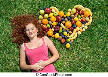 dziewczyna, z, owoc