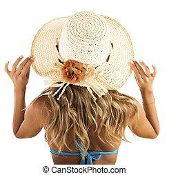 dziewczyna, z, słomiany kapelusz