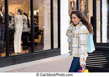 dziewczyna, zakupy, ładny