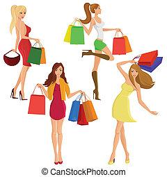 dziewczyna, zakupy, sylwetka