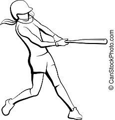 dziewczyna, zbicie, softball