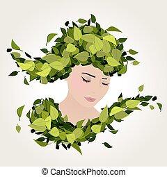 dziewczyna, zielone listowie