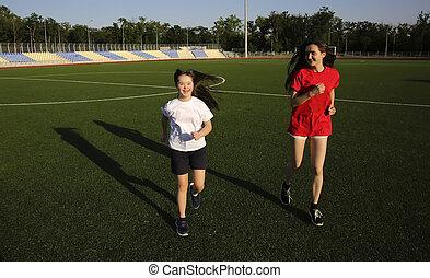 dziewczyny, na, przedimek określony przed rzeczownikami, stadion