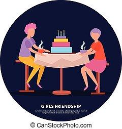 dziewczyny, przyjaźń, tło, orthogonal
