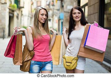 dziewczyny, shopping torby