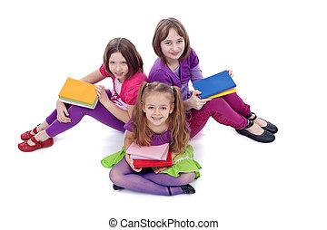 dziewczyny, szkoła, grupa, młody, przygotowując