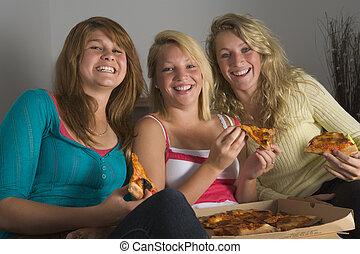 dziewczyny, teenage, jedzenie pizza