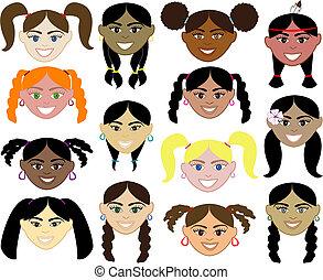 dziewczyny, twarze