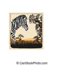 dziki, afryka, zebra, karta