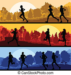 dziki, biegacze, las, maraton, natura