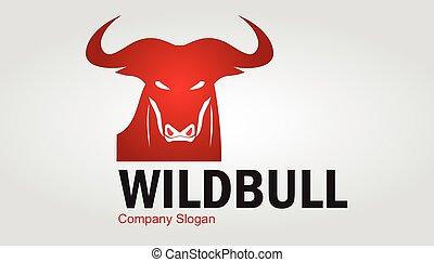 dziki, buffalo., bull., czerwony, byk