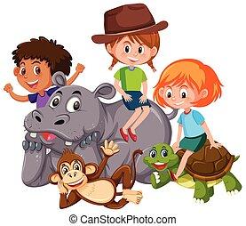 dziki, dzieciaki, zwierzęta, odizolowany