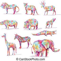 dziki, komplet, wektor, zwierzę, safari