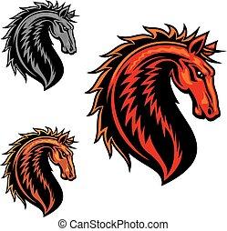dziki, mustang, koń, rysunek, maskotka