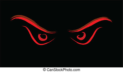 dziki, oczy, zły