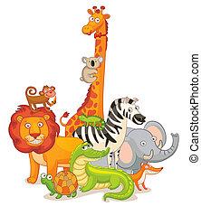 dziki, przedstawianie, zwierzęta, razem
