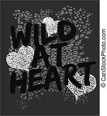 dziki, serce, graficzny, druk, zwierzę