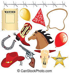 dziki zachód, urodziny, clipart, kowboj