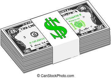dzioby, stany, zjednoczony, dolar, na