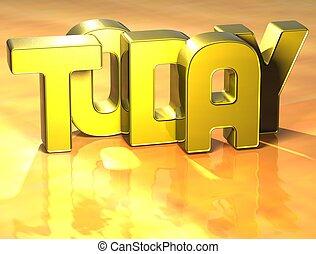 dzisiaj, słowo, tło, żółty, 3d