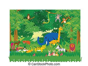dzsungel, alatt, karikatúra