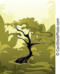 dzsungel, fa, zöld