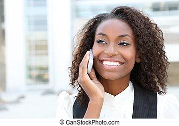 dzwonić kobiecie, handlowy, afrykanin
