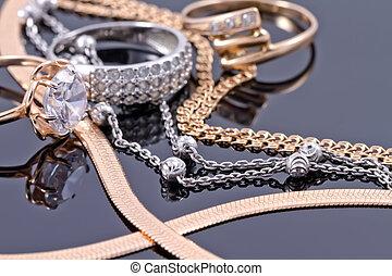 dzwoni, więzy, srebro, złoty