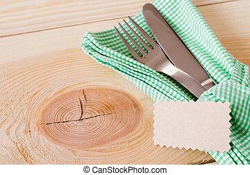 besteck rustic etikett leer gedeckter tisch rustic satz winkel schnur raum h lzern. Black Bedroom Furniture Sets. Home Design Ideas