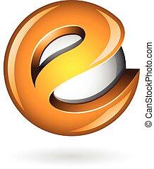 e , λείος , γράμμα , πορτοκάλι , ο ενσαρκώμενος λόγος του θεού , 3d , στρογγυλός , εικόνα