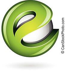 e , πράσινο , λείος , γράμμα , ο ενσαρκώμενος λόγος του θεού , 3d , στρογγυλός , εικόνα