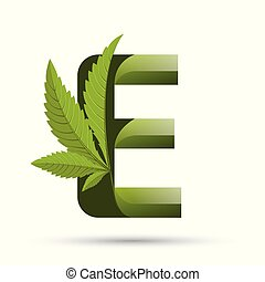 e, インド大麻, 緑, 手紙, ロゴ, 葉