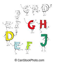e, スタイル, セット, 手紙, d, j, h, g, f, 漫画