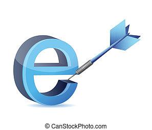 e, デザイン, ターゲット, イラスト, インターネット