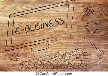 e- ビジネス, テキスト, 机, coffe, スクリーン, コンピュータキーボード