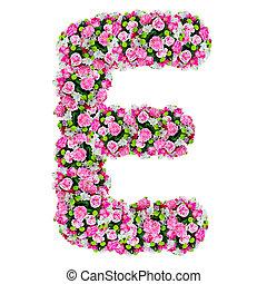 e, 切り抜き, 花, アルファベット, 隔離された, 道, 白
