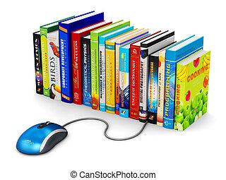 e 勉強, そして, オンラインの教育, 概念