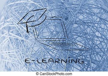 e 勉強, オンラインで, コース, そして, 卒業式帽子