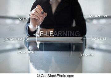 e 勉強, 上に, ∥, 事実上, screen., インターネット, 教育, 概念