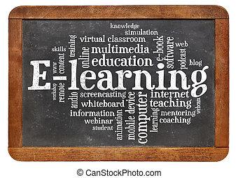 e 勉強, 単語, 雲, 上に, 黒板