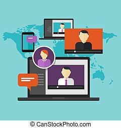 e 勉強, webinar, 教育, オンラインで, 概念, 距離, 訓練, 勉強