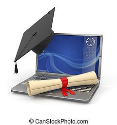 e 學會, graduation., 膝上型, 畢業証書, 以及, 迫擊炮上