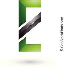 e, 対角線, イラスト, ベクトル, 黒, 手紙, 緑, 線