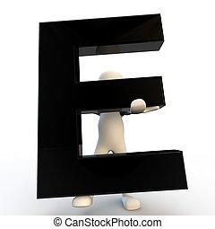 e, 握住, 人们, 性格, 小, 黑色, 人类, 信件, 3d