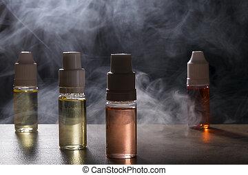 e, 液体, 香煙, 背景。, 設備, vaping, 電子